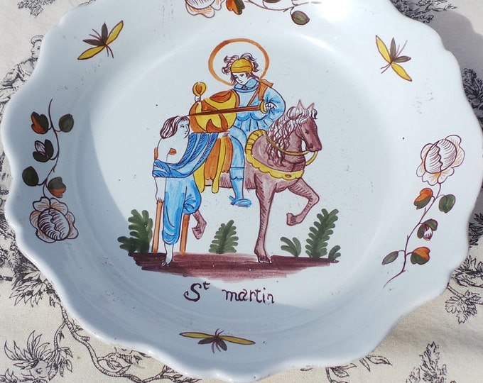 Vintage French Faïenceries d'Art Hadancourt 1960 - 1970 Signed Dish Primitive Faience 16th C Design Mid 20thC French Faience St Martin
