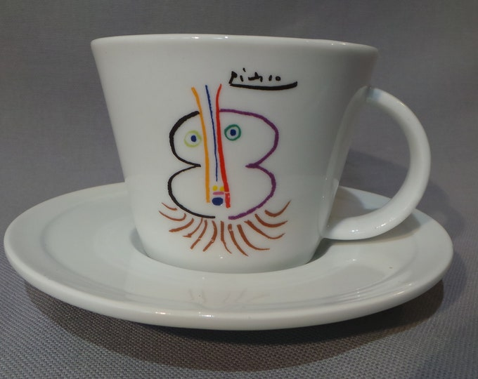 Picasso Cup and Saucer Fully Signed Picasso Made Under License by MMI Tognana Priam. Le Noble Vieillard, 1961 ©Succession Picasso Paris