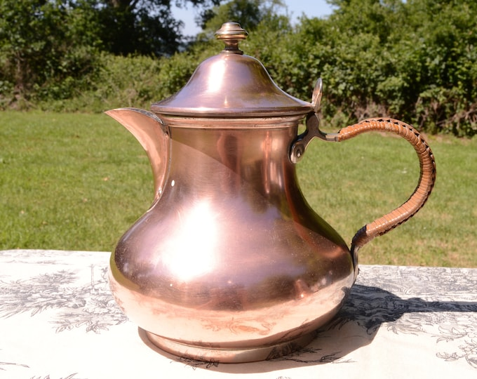 French Hotel Ware Tea Pot Copper was once Silver Plate L & C Water Tight Hotel Ware French Tea Kettle Some Missing Plate Coffee Pot