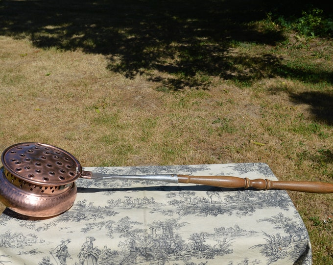 Antique French Copper Nut Roaster Pan Old Timer Pierced Copper Pot Decorators Piece Iron and Wooden Handle