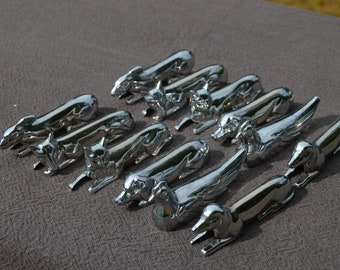 Twelve 12 Knife Rests Animals Art Deco Cast Set of 2 Foxes 2 Pigs 2 Cats 2 Chickens 2 Dogs and 2 Hares Good Condition Tableware Flatware