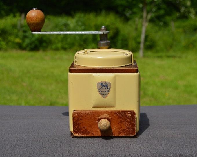 Coffee Grinder Vintage French Enamel Working Parts Professional Quality METAL Drawer PEUGEOT BROTHERS Coffee Bean Grinder Proper Antique