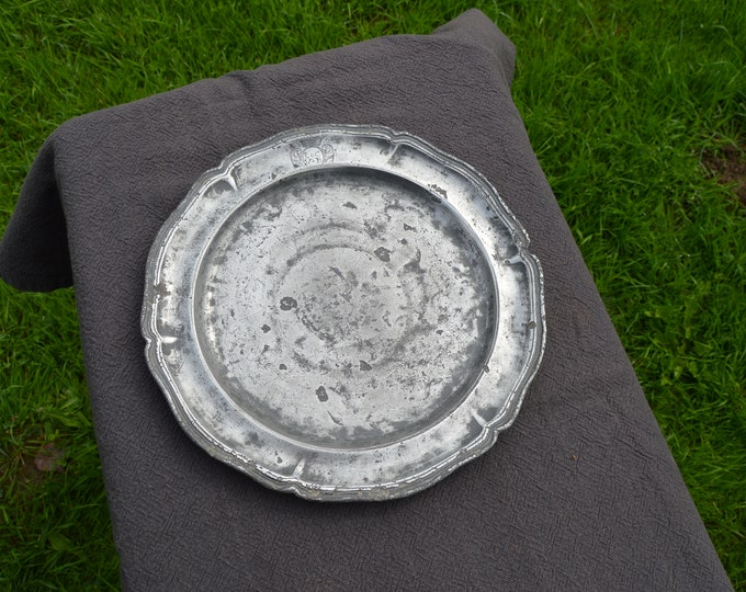 Late 18th Century Pewter Plate Fully Marked Wavy Edge Heavy Pewter Marked LC VB Marriage Plate Design Late 1700s Antique Pitted Pewter