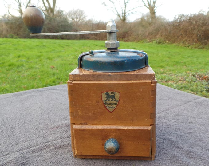 Vintage French Peugeot Bros Blue Coffee Grinder Metal Handle Attachments Coffee Mill Fully Working Moulin à Café Enamel Coffee Bean Mill