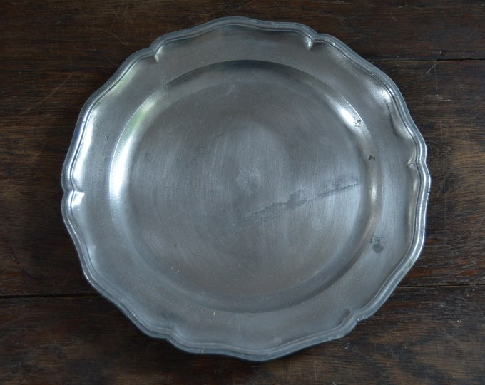 Late 18th Century Pewter Plate Fully Marked Wavy Edge Heavy Pewter Marked APJ Plate Design Late 1700s Antique Pitted Pewter