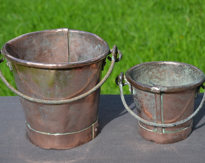 Antique French Solid Copper Pair Buckets Two Small Copper Buckets Cast Iron Handles Hand Made Not Water Tight Repairs Exceptional Patina