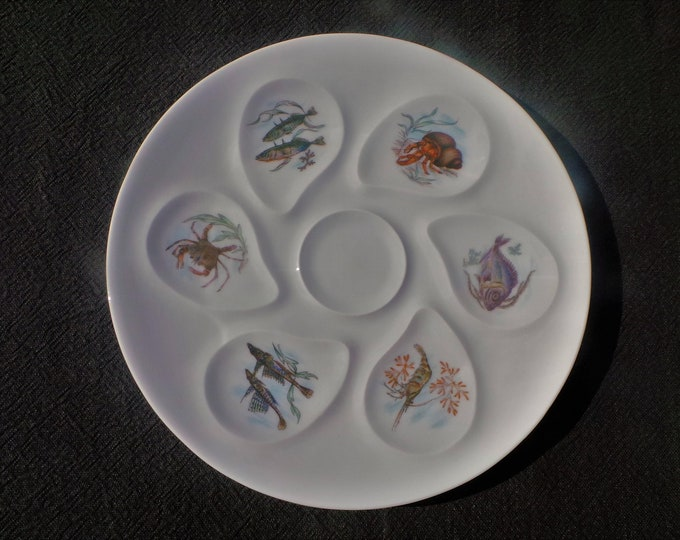 Oyster Plate Limoges Huitre Mussel Fish Plate Sea Creatures Vintage French Seafood Plate Shellfish Plate Oyster Plate 6400