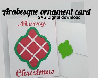 Arabesque ornament card svg, greeting card, stencil, Cricut paper cut template, Silhouette