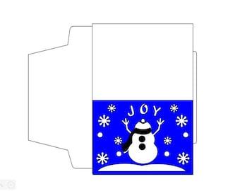 Snowman SVG, Snowman Joy stencil,Christmas card SVG with envelope template, papercut, Cricut file, silhouette