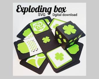 Exploding Box SVG, Shamrock box, St. Patty's day gift, st. patrick's day box, explosion box, flower fold envelope, heart closure pocket