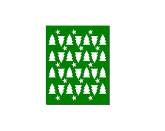 Christmas tree and star stencil SVG