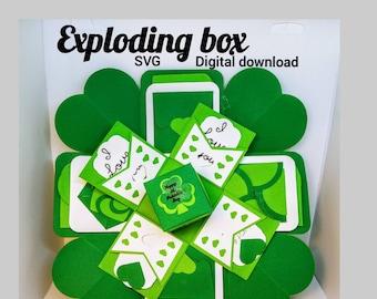 SVG exploding box, explosion heart card, St. Patrick's Day, pop up card,exploding box,explosion box svg, pocket card,SVG,papercut template
