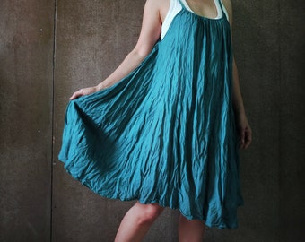 Funky Boho Braided Shirred Strap Dusty Dark Teal Green Light Cotton Tunic Sundress Beach Cover Dress - D009