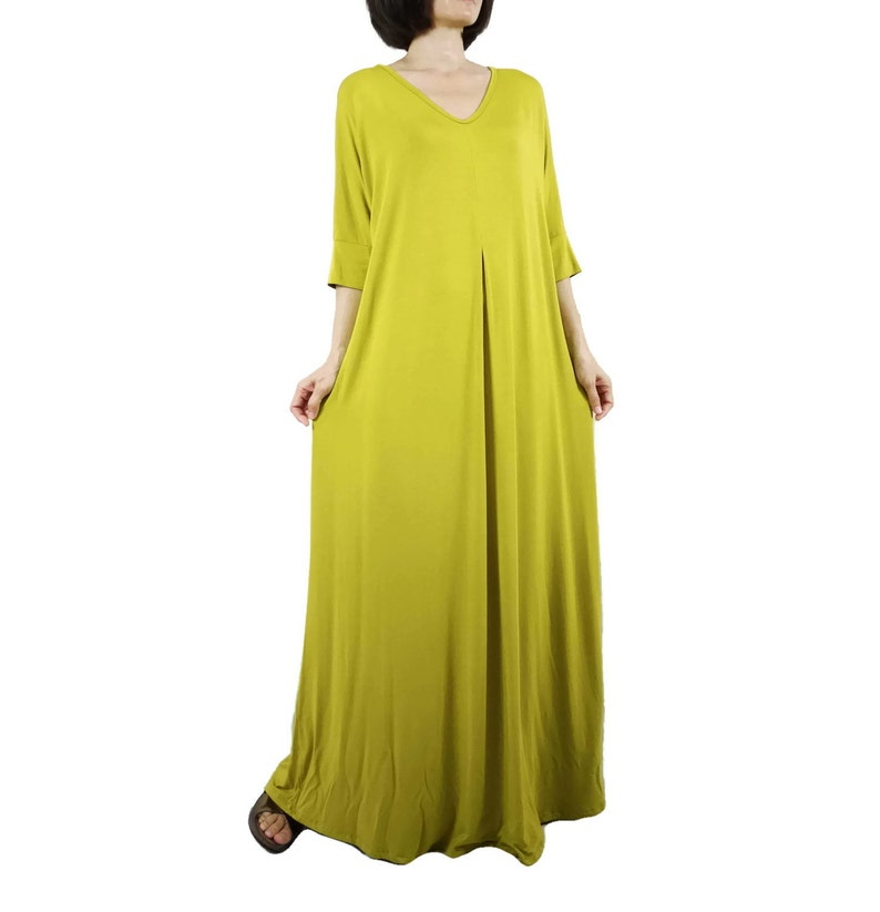 SALE Oversize V Neck 34 Sleeve Inverted Pleat Maxi Dress Green Yellow Rayon Jersey Boho Hippie Gpysy Minimalist Freesize Maxi Dress D031
