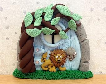 Fairy Door, Indoor Fairy Door, Tooth Fairy, Animal, Safari Themed Nursery Decoration - Lion Door