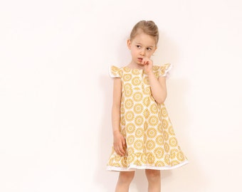 Vintage girls A line DRESS pattern - easy childrens sewing pattern - girls dress patterns pdf - from 3T to 8 years - INSTANT DOWNLOAD