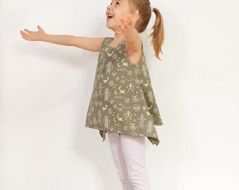 PDF Tunic pattern - girls blouse l hippie shirt tutorial - 2 to 9 years