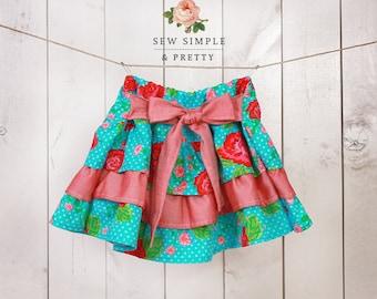 Girls skirt pattern pdf l Toddler ruffle skirt pattern l Easy children sewing patterns - 12 m to 12 years