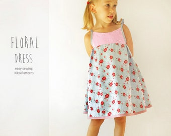 Floral girls DRESS sewing pattern - easy summer toddler dress pdf tutorial - from 1 year to 8 years