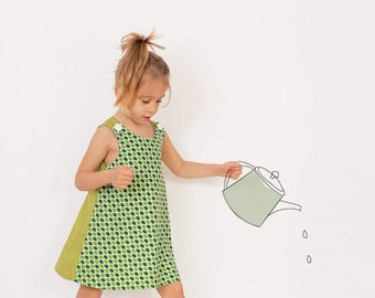 Reversible A line DRESS pattern - girls dress patterns pdf - sizes from 2 to 8 years
