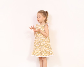 NEW Vintage A line dress pattern pdf - 2 in 1 with or without buttons  - easy childrens sewing pattern -  - from 3T to 8 years - INSTANT