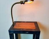 Steel and Wood Side Table with Light