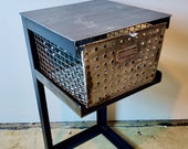 Steel Side Table with Basket