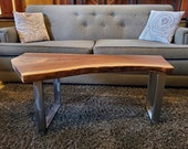 Live Edge Walnut Coffee Table with Steel Legs