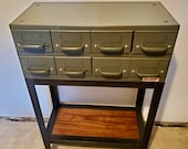 Vintage Steel Parts Cabinet Console / Entry Table