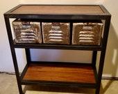 Vintage Steel Locker Basket Console / Entry Table
