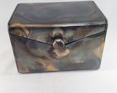 "4"" Tall 6"" Wide, Hex Handle, Steel Keepsake Box - Gift Box - Jewelry Box"