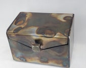 "4"" Tall 6"" Wide, Square Handle, Steel Keepsake Box - Gift Box - Jewelry Box"