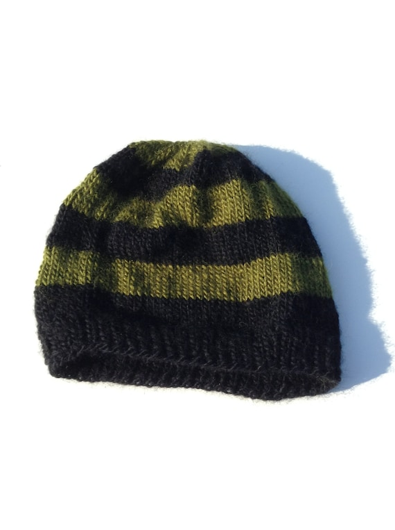 Green Striped Beanie Men s Wool Acrylic mix  5c00b87cbee