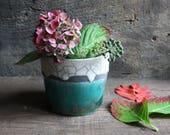 Vase Raku ceramic white, blue and black crackle handmade for flowers, pencil, paintbrush, pen / for the kitchen, living room, bathroom