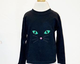 Long sleeved cat face applique t shirt