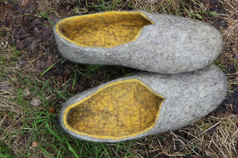 0c81286f7e3e1 Woomen wool house shoes, felted gray-yellow slippers, handmade,absolutly  eco , natural love, gift, Mother's day, made to order.