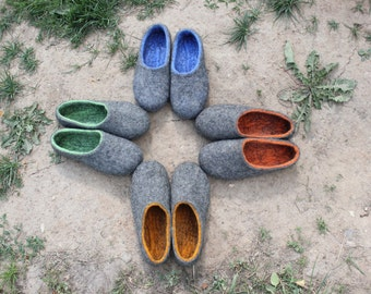 Felted slippers Charcoal grey Dark grey  Women home shoes