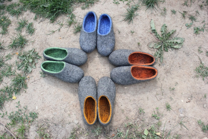 5b9e557554d78 Felted slippers Charcoal grey Dark grey Women home shoes