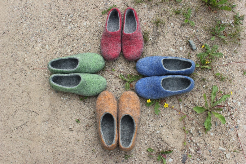 73e636d0c09dd Felted slippers Charcoal grey Dark grey Women home shoes Red grey Blue grey  Orange grey Green grey Lilac grey Yellow grey Violet grey