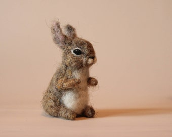 Needle felted Animal.Hare, Rabbit or Bunny.  Felted soft sculpture.