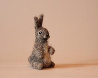 Needle felted Animal.Hare, Rabbit or Bunny.  Felted soft sculpture. Ready to ship.