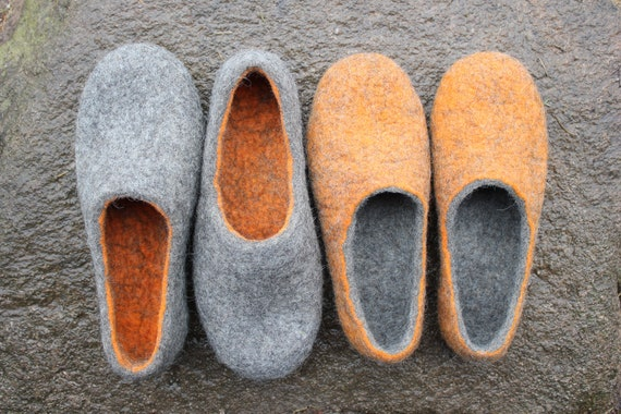 54d11cebb51ea Felted slippers, Orange-Grey, Grey-Orange, Gift for two, Family slippers,  Women Man home slippers