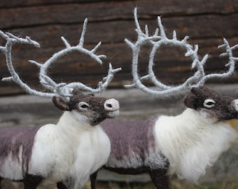 Needle felted animal. Needle felted Reindeer. Needle felted soft sculpture