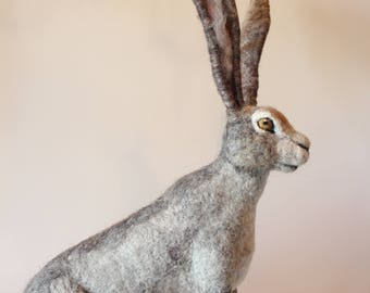 Needle felted Hare. Needle felted Animal. Needle felted soft sculpture. Forest animals. Made to order