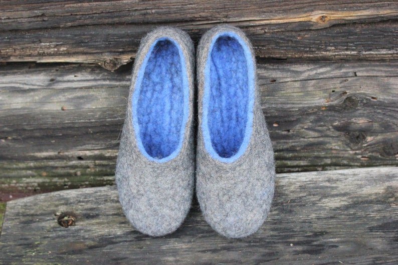 1d6307f73f9d8 Felted slippers Charcoal grey Blue Women home shoes Mothers day