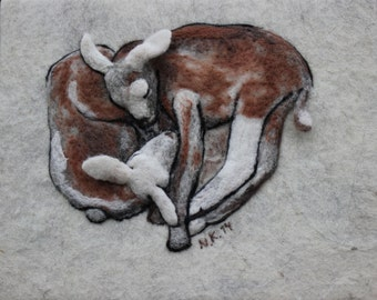 """Felted wall hanging """"Lambs in the spring"""". Animal. Handmade, needlefelted, picture, made to order."""