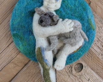"""Felted wall hanging """"Friendship"""". Animal. Boy. Dog.  Handmade, needlefelted, picture, made to order."""