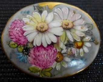 Vintage Painted Ceramic Brooch, Flower Brooch, Midcentury Brooch