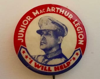 "Scarce WWII General MacArthur Button/ ""Junior MacArthur Legion I Will Help""/ Vintage Douglas MacArthur Button"