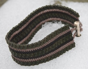Chunky Stripes Cuff Bracelet - Olive, Brown, and Black